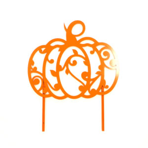 swirl pumpkin sign with stakes